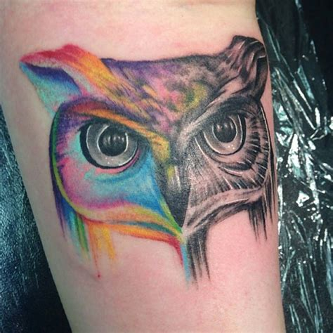 colorful owl tattoo unique owl tattoos pictures to pin on pinsdaddy