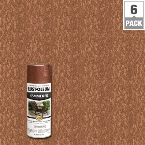 rust oleum stops rust 12 oz protective enamel hammered copper spray paint 6 pack 210849 the