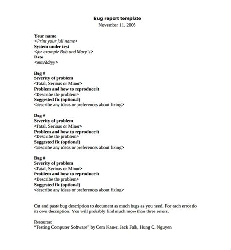 software problem report template 7 bug report templates sle templates