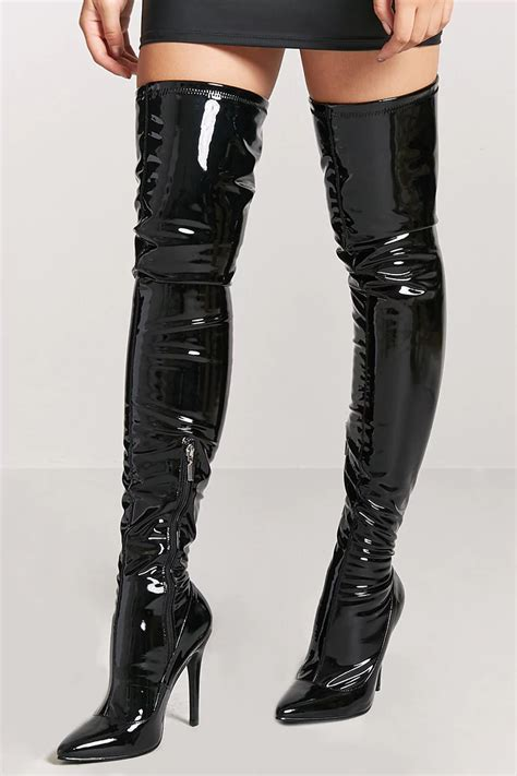 faux patent leather thigh high boots shopperboard