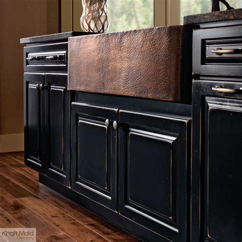 kraftmaid apron sink base in vintage onyx farmhouse