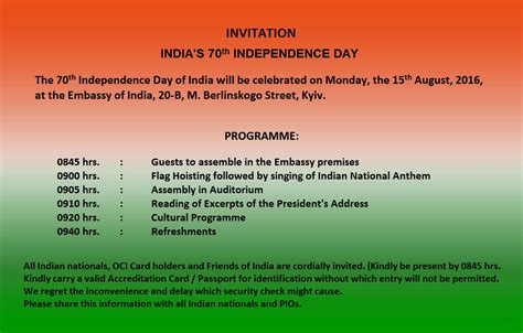 Invitation Letter Format For Republic Day Embassy Of India Kyiv Ukraine