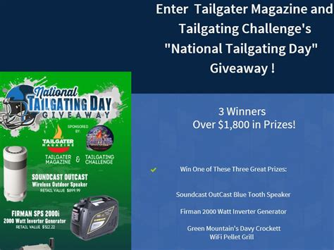 Magazine Giveaways Sweepstakes - tailgater magazine and tailgating challenge national tailgating day giveaway