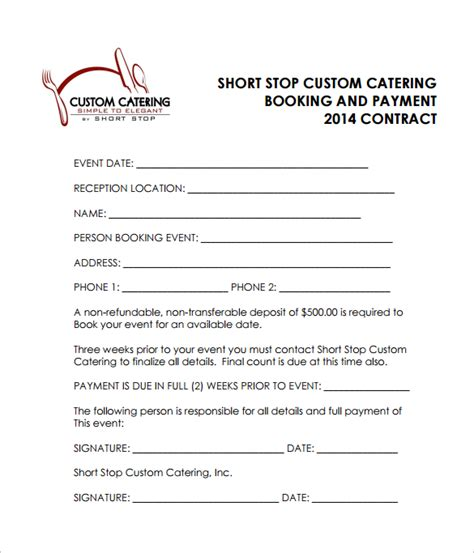 17 catering contract template catering contract template 9