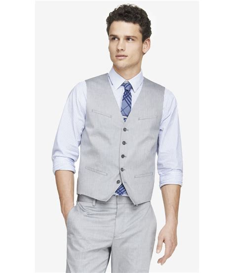 light grey suit vest lyst express light gray oxford cloth suit vest in gray