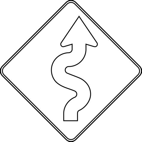 Road Sign Outlines winding road outline clipart etc