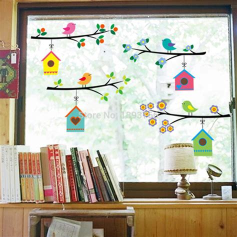 fashion vintage branch bird cage ᐂ wall wall stickers
