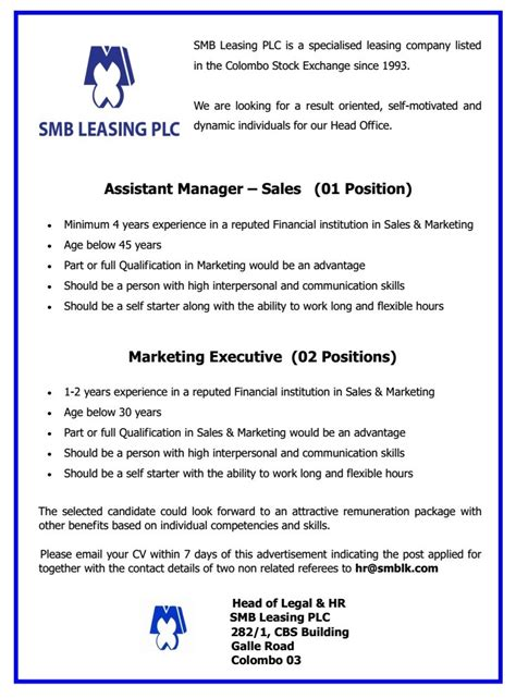 assistant manager sales marketing executive