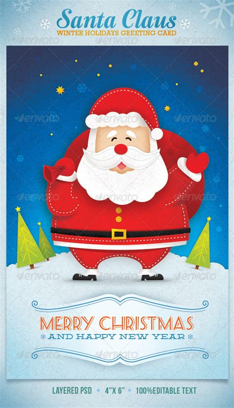 Santa Claus Card Template by Santa Claus Winter Holidays Greeting Card Graphicriver