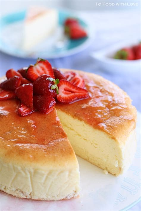 Japanese Cotton Cheesecake With Strawberry 1 japanese cheesecake with sponge base i to cook