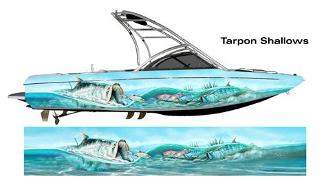 design your own fishing boat tarpon shallows red fish custom boat wrap sized to fit