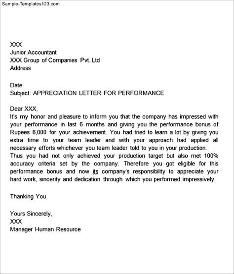 appreciation letter my appreciation letter for performance sle templates