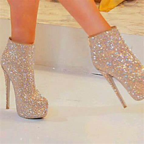 shoes sparkly shoes glitter shoes silver high heels