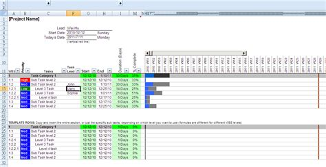 Gantt Chart Template For Excel 2010 by Gantt Chart Excel Template Cyberuse