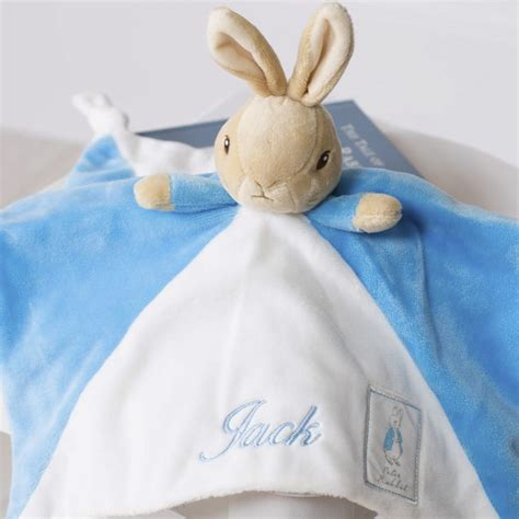Comfort Blanket For Baby by Rabbit Personalised Blue Baby Comfort Blanket That