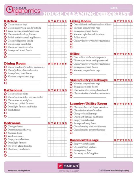 40 Printable House Cleaning Checklist Templates ᐅ Template Lab Cleaning Checklist Template