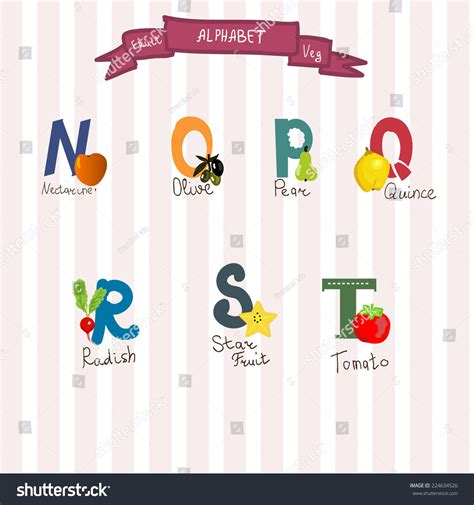r r fruit and veg fruits and veg alphabet in vector n o r q p s t