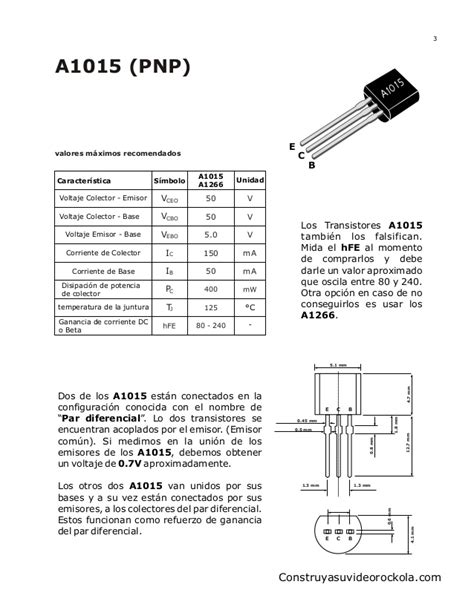 transistor a1015 reemplazo espectrum