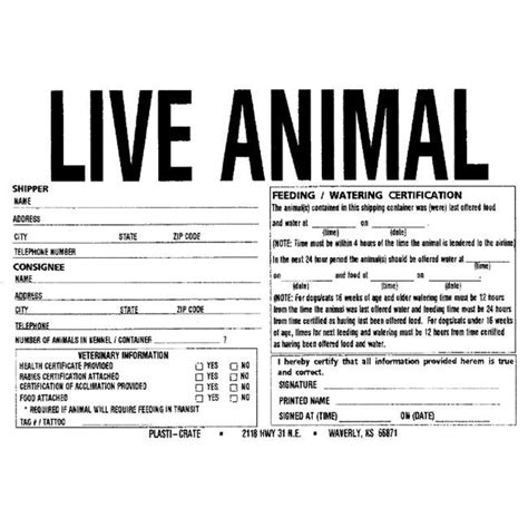 printable live animal stickers plasti crate 010pc feeding shipping labels jet com