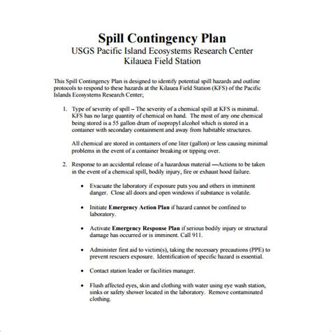 emergency response plan template for small business contingency plan template 9 free word pdf documents