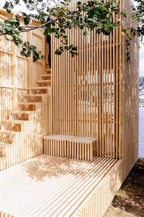 wood architecture slatted wood finish