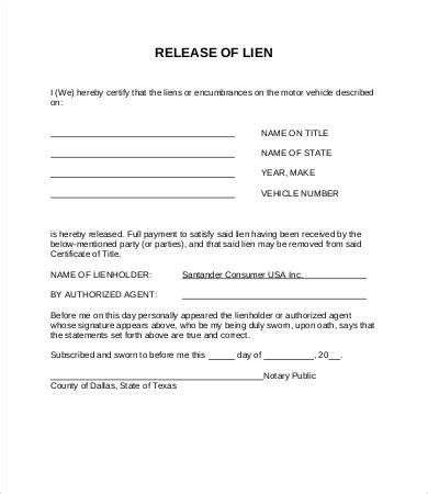 Lien Release Letter Template Letter Template Free Lien Release Form Template