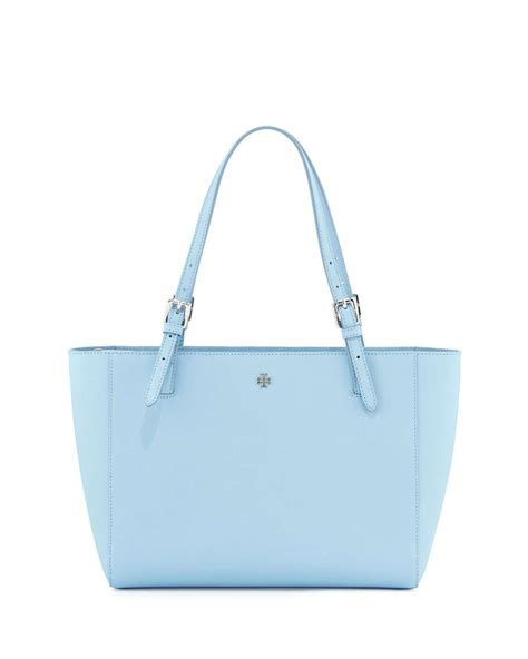 burch york saffiano leather tote bag in blue lyst