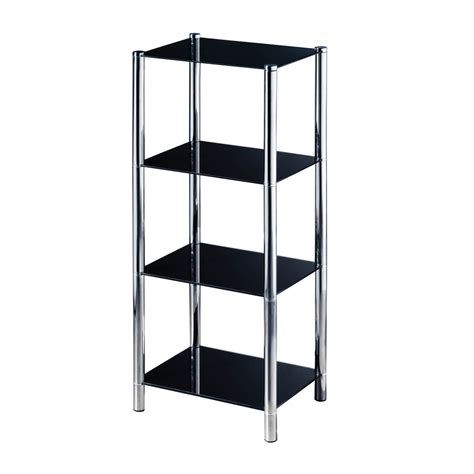 4 tier shelving unit chrome glass lounge storage tower