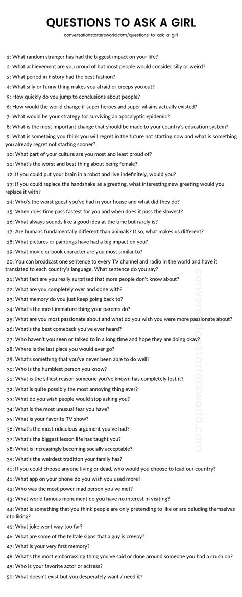quiz questions list a list of great questions to ask a girl plus tips for