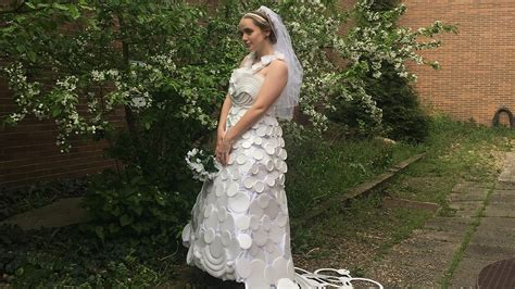 today brides an excuse to put your wedding dress on again here comes the bride all dressed in styrofoam