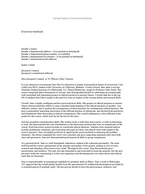 personal letter of recommendation character current see gopages info