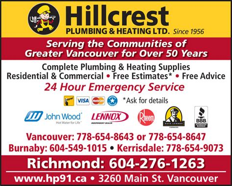 Plumbing Supplies Bc by Hillcrest Plumbing Heating 3260 St Vancouver Bc
