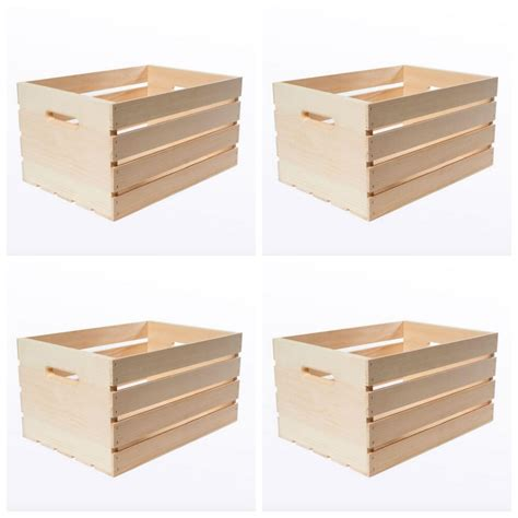 large wood wooden crate box  craft storage decorative
