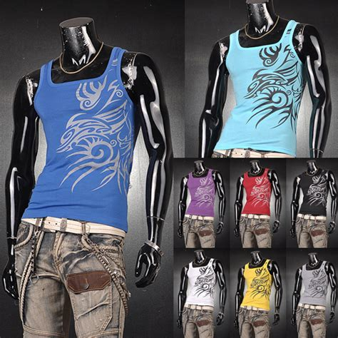New Tattoo Under Shirt | 2015 new mens t shirts undershirt tank tops slim man