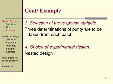 design of experiments powerpoint ppt design of experiments nested designs split plot