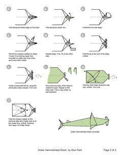 hammerhead shark diagram 1 of 2 origami animals
