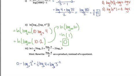Laws Of Logarithms Worksheet