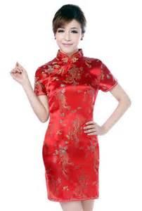 Qipao dresses red dragon and phoenix knee length qipao