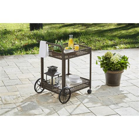 patio serving carts on wheels better homes and gardens colebrook outdoor serving food
