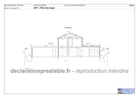 declaration prealable de travaux piscine plan de coupe dp3