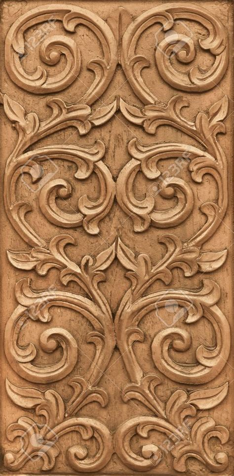 pattern wood design pattern of flower carved on wood background stock photo