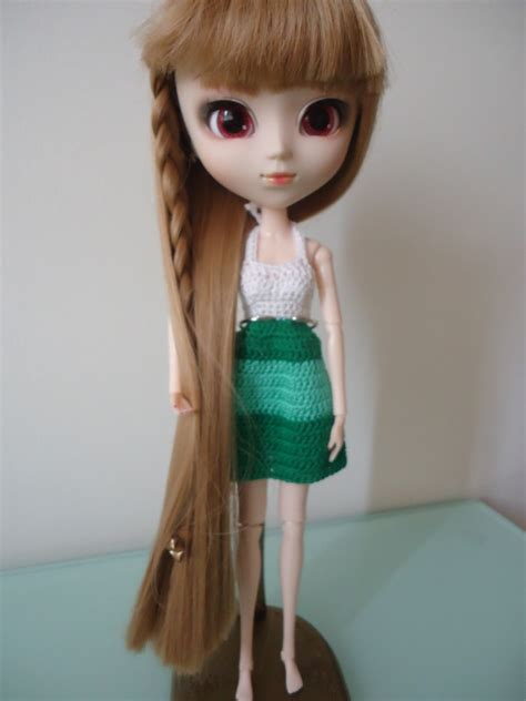 pattern pullip clothes fashion doll crochet clothes pullip halter colorblock dress