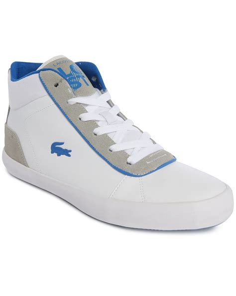lacoste sneakers lacoste lerond white blue mid sneakers in white for lyst