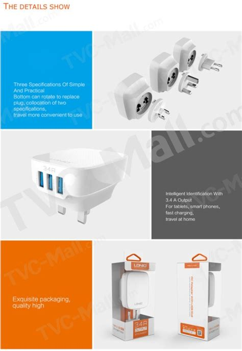 Adaptor Charger Ldnio 3 4a A3303 ldnio 5v 3 4a 3 port usb travel adapter wall charger for iphone samsung sony us tvc mall
