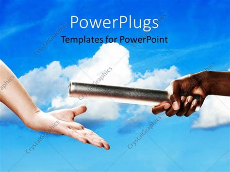 Background Check Baton Powerpoint Template Two Exchanging A Baton On A Blue Cloudy Background 2922