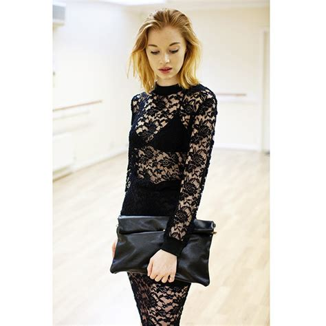 black lace top and pencil skirt coordinates by