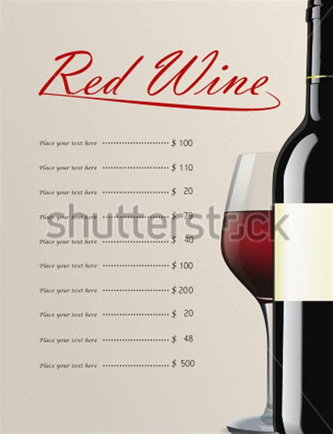 sle wine menu template 12 download documents in
