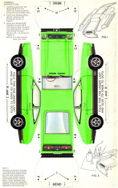 How To Make A 3d Paper Car - lime green 1974 mustang mach 1 paper car model stuff