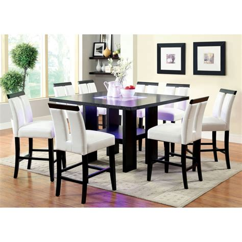 9 piece counter height dining room sets furniture of america lumina 9 piece light up counter