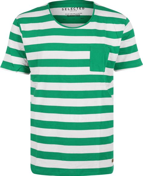 selected dave stripe t shirt green white striped